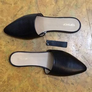Topshop Real Leather Black Angelina Pointed Mules
